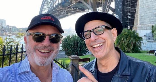 Jeff Goldblum e Sam Neill posam para foto em Sydney, Austrália