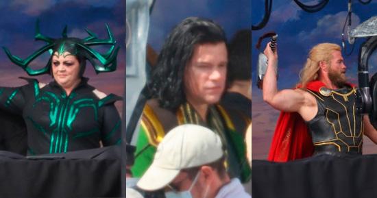 Melissa McCarthy, Luke Hemsworth e Matt Damon nos bastidores de Thor 4