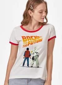 Imagem Camiseta Ringer De Volta para o Futuro Marty McFly e Doc Brown