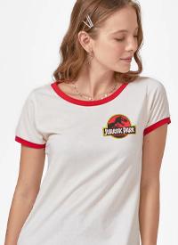 Imagem Camiseta Ringer Jurassic Park Logo Mini